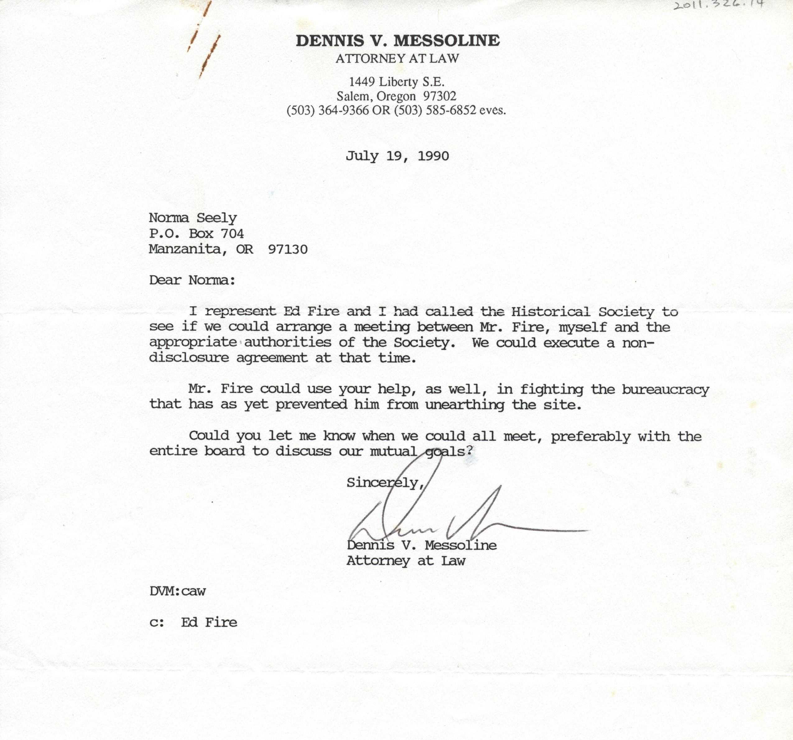 Letter to Norma Seely from Dennis V. Messoline ( Ed Fire's