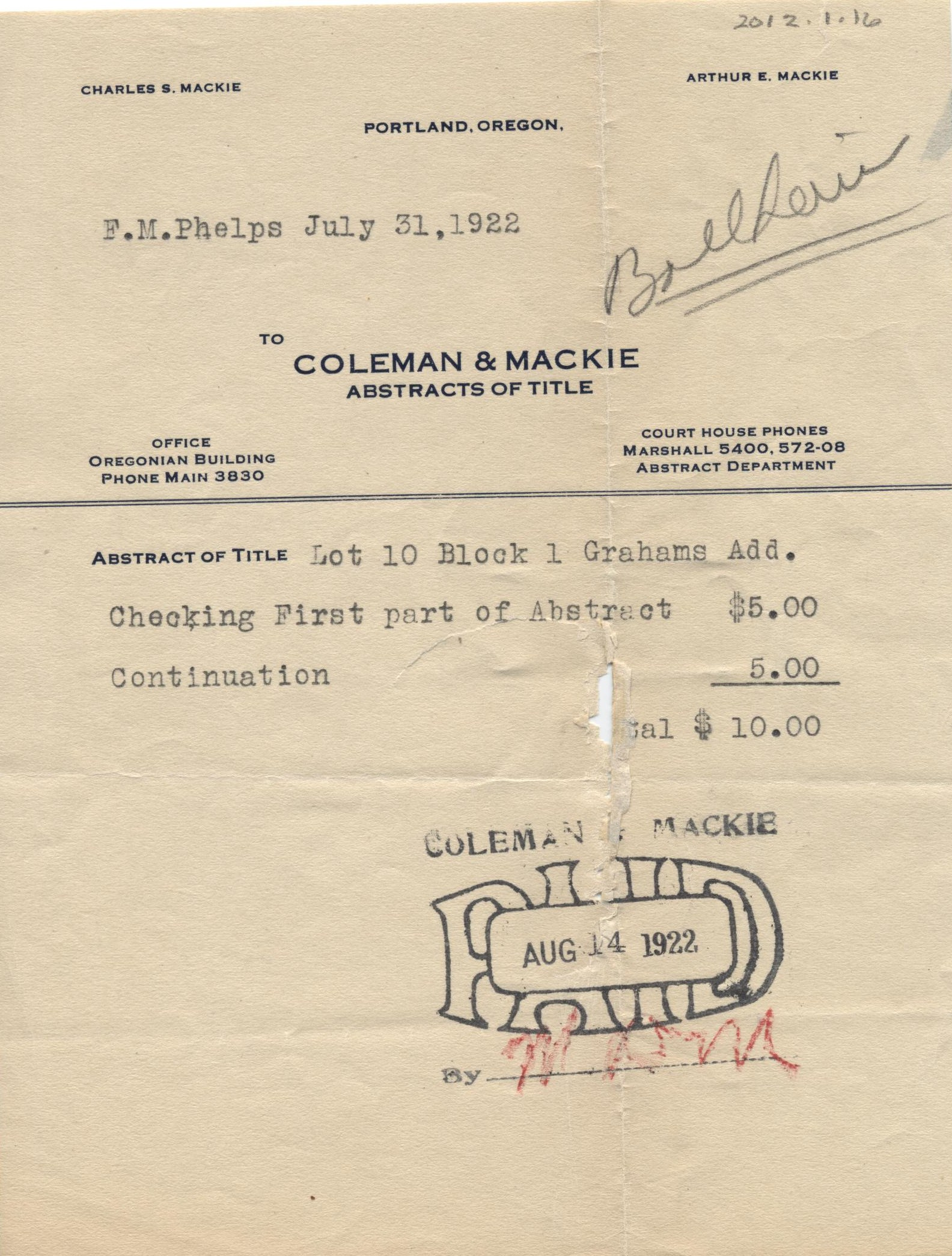 Coleman and Mackie Abstract of Title receipt · Nehalem ...