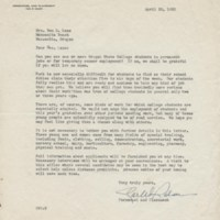 Letter from Oregon State Agricultural College to Mrs. Ben Lane
