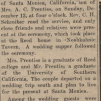 Announcement of marriage of Jean Reed to John Prentiss